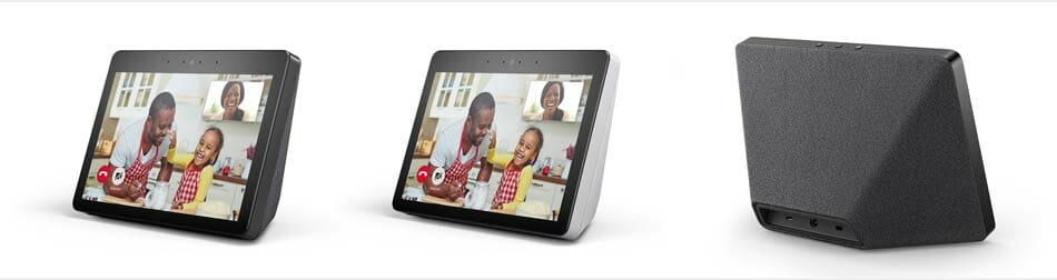 Amazon Echo Show (2nd Generation) - Black, Sandstone, and Rear