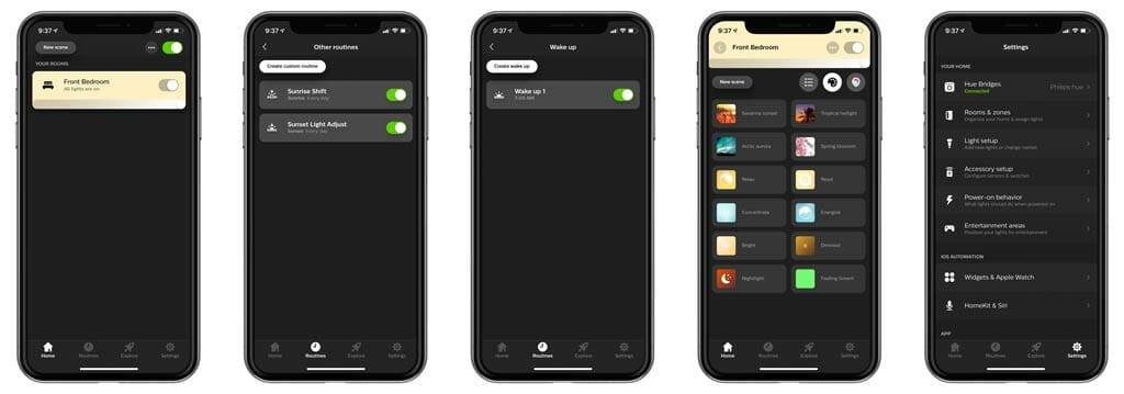 Philips Hue App - Home, Routines, Wake-Up Routine, Scenes, Settings