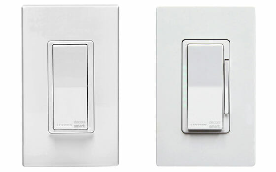 Leviton Decora Smart Switch at left and Leviton Decora Smart Dimmer at Right