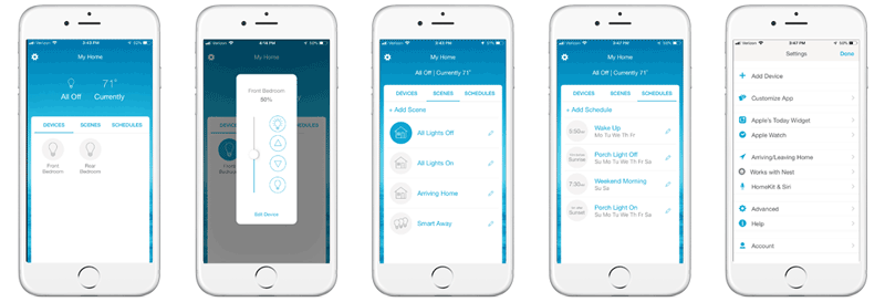 Lutron Caséta App - Devices, Light Control, Scenes, Schedules, Settings