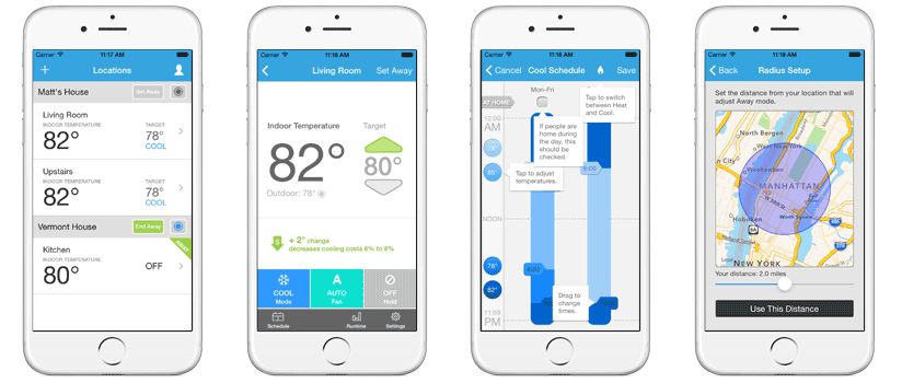 LUX Products App - Locations, Thermostat Control, Schedules, Geofencing Setup