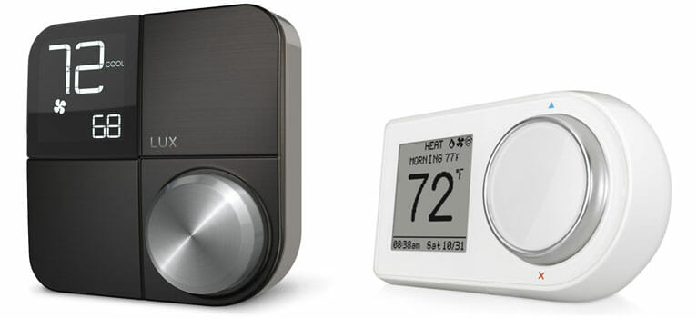 LUX Kono Smart Thermostat (left) and LUX Geo Smart Thermostat (right)
