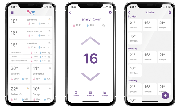 Mysa App - Zones, Thermostat Control, Schedule