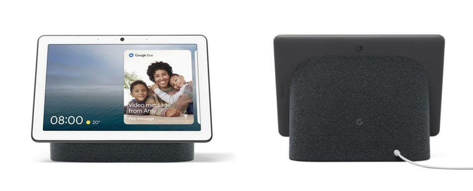 Google Nest Hub Max in Charcoal - Front at left and Back at right