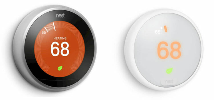 Nest 3rd Generation Learning Thermostat at left and the Nest Thermostat E at right