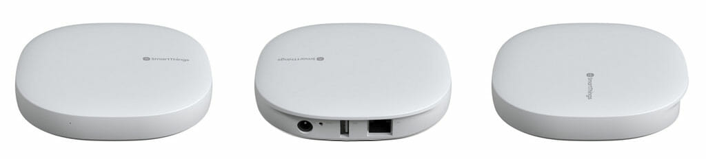 Views of SmartThings Hub - front, back, and side