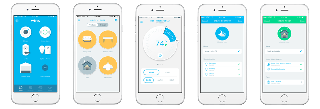 Wink Hub App - Main screen, lights, thermostat, shortcuts, robots