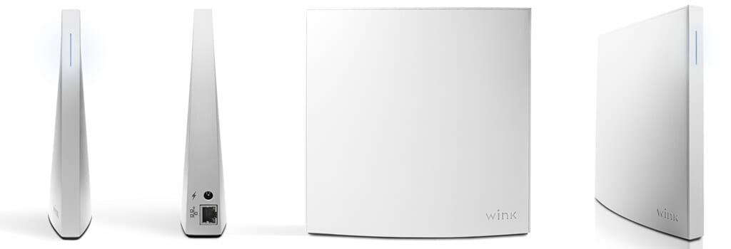 Views of the front and sides of the Wink Hub 2